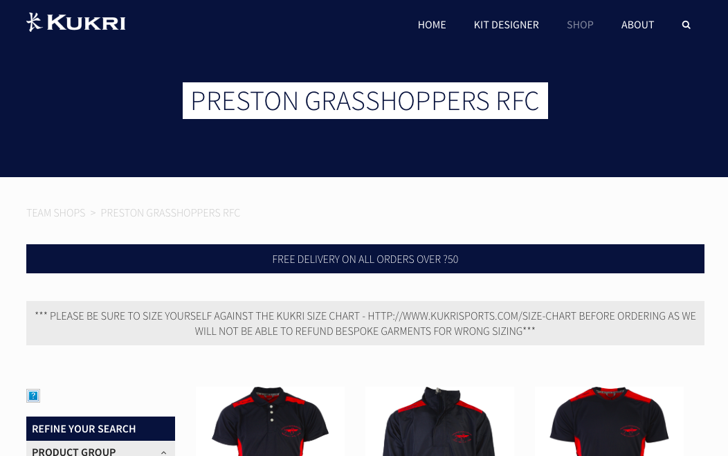 New online shop launched pgrfc preston grasshoppers rfc has teamed up with kit provider kukri to launch a new online shop solutioingenieria Choice Image