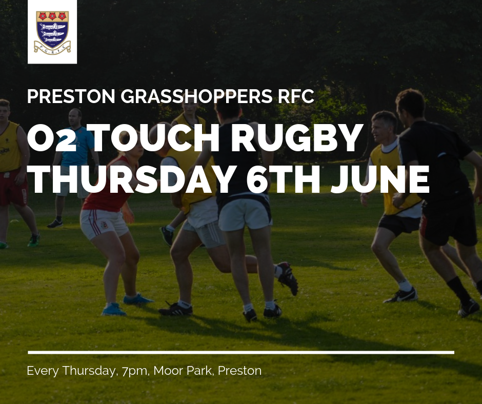 a9afea0d5 Thursday, 6th June 2019, sees Preston Grasshoppers RFC take rugby back into  the community again with the return of O2 Touch Rugby to Moor Park.